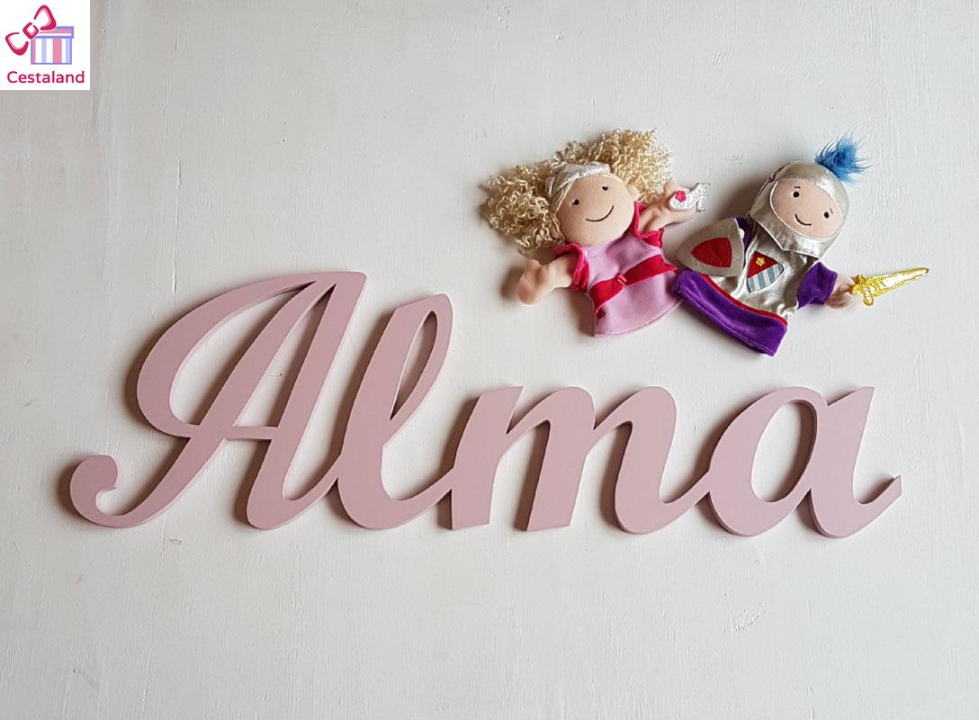letras de madera lila Alma