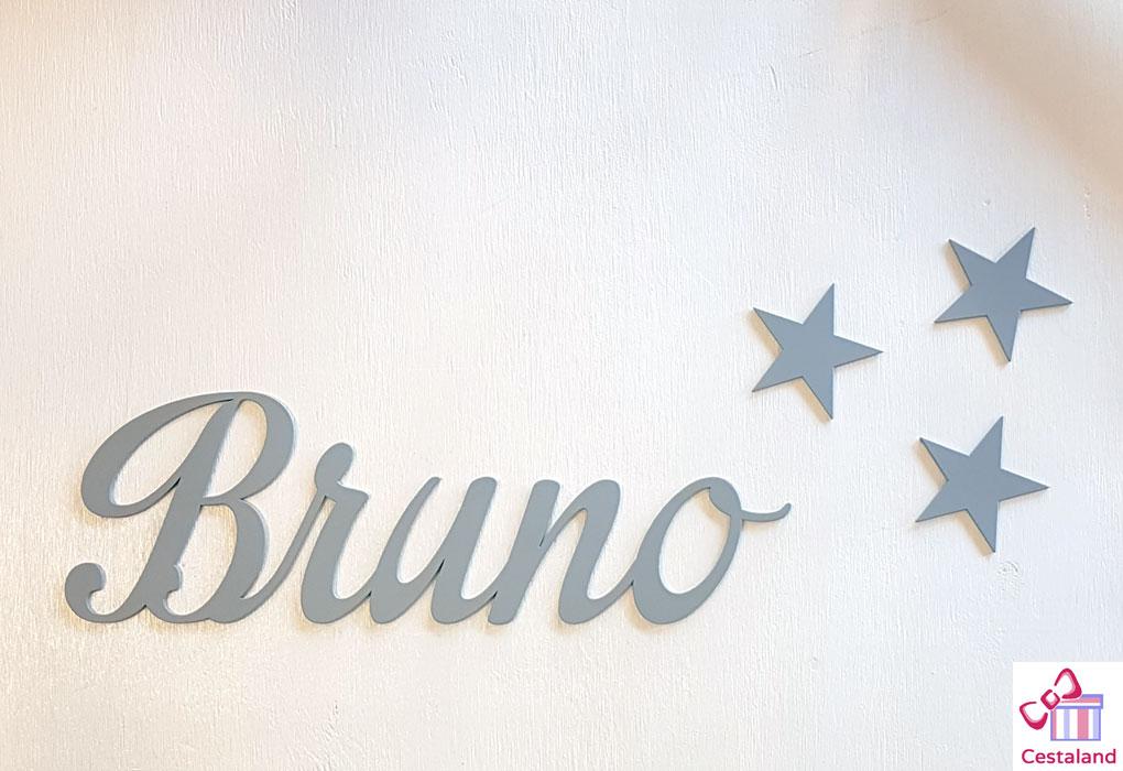 letras de madera grises Bruno. Decorar con letras
