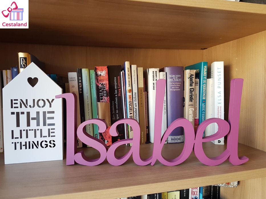 letras madera decorativas. Decorar con letras Isabel