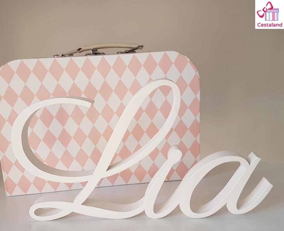 letras madera sobremesa. Letreros nombre bebé Lia