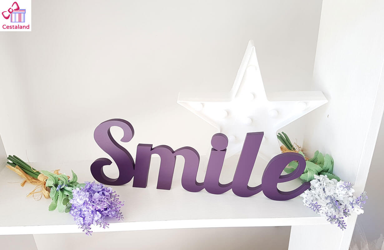 Smile letrero madera